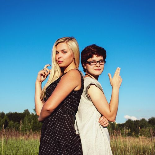 Two People Young Women Clear Sky Togetherness Archival Young Adult Day Embracing Sky People Adults Only Adult Portrait Outdoors Bangle First Eyeem Photo