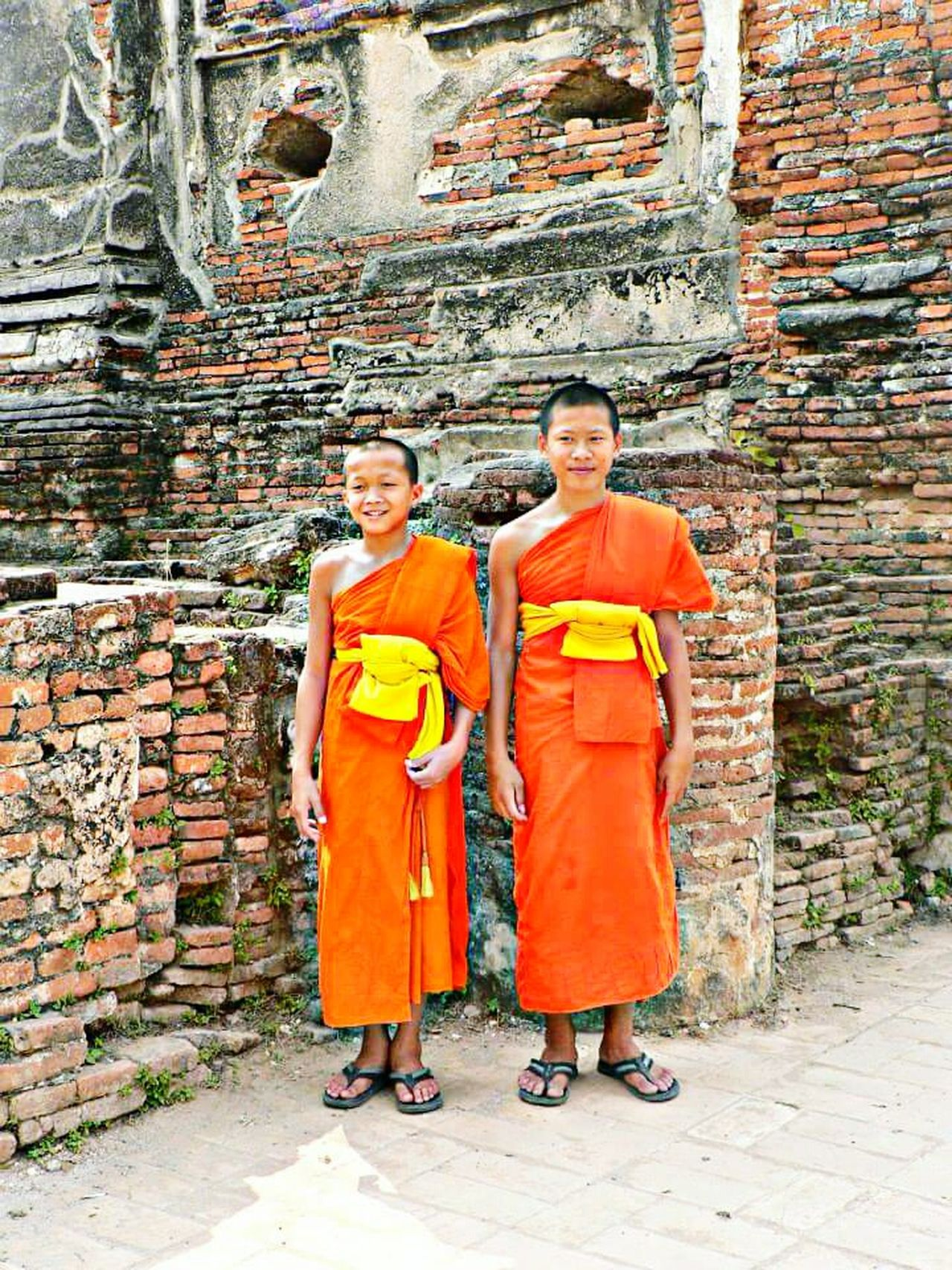 Looking At Camera Portrait Adult Full Length Two People Standing Adults Only Togetherness Outdoors People Day Smiling Men Architecture Spirituality Religion Buddhist Monks Headwear Young Adult