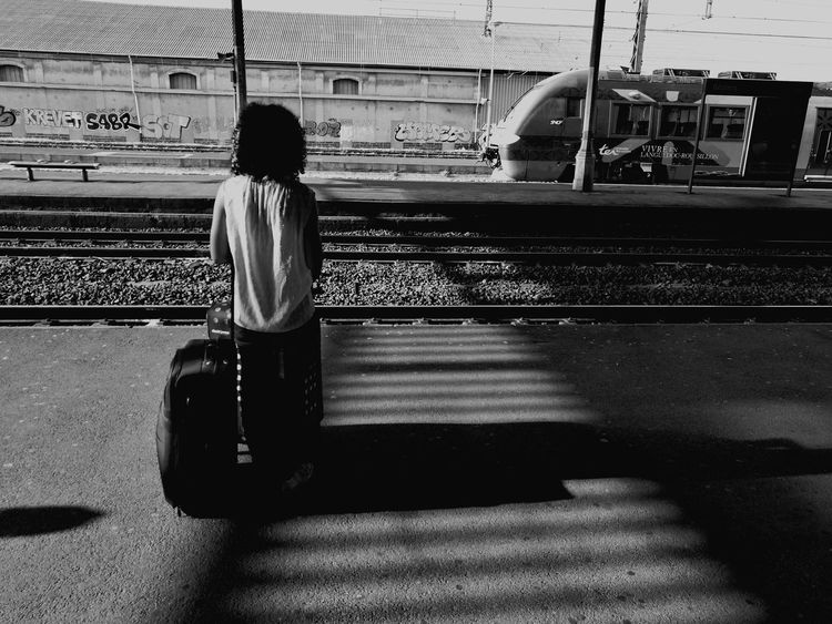 Real People One Person Rear View Shadow Transportation Public Transportation Day People Noiretblanc HuaweiP9 Blackandwhite Streetphotography Béziers Cityscape City Trainstations Gare