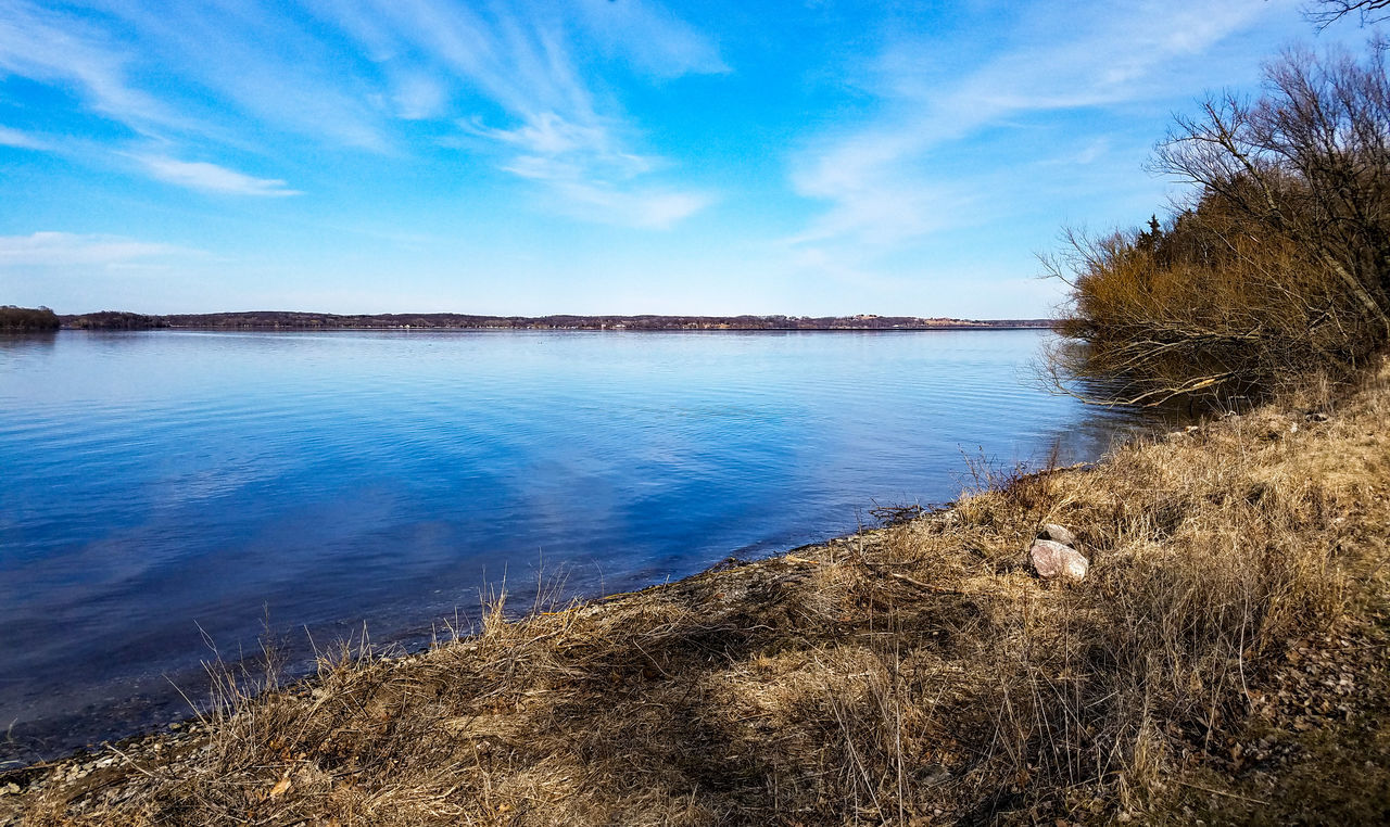 Blue Sky Reflection Nature Water Landscape Outdoors Scenics No People Beauty In Nature Tranquil Scene Day Lake Koronis Lake View Lake Lakeside March 2017 March Koronis Regional Park Minnesota Spring Springtime Park Grass Explore