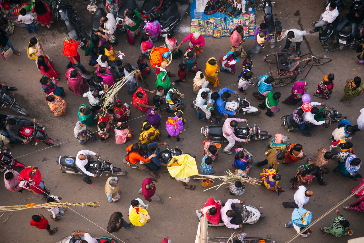 Beautiful stock photos of drones, multi colored, high angle view, large group of people, celebration