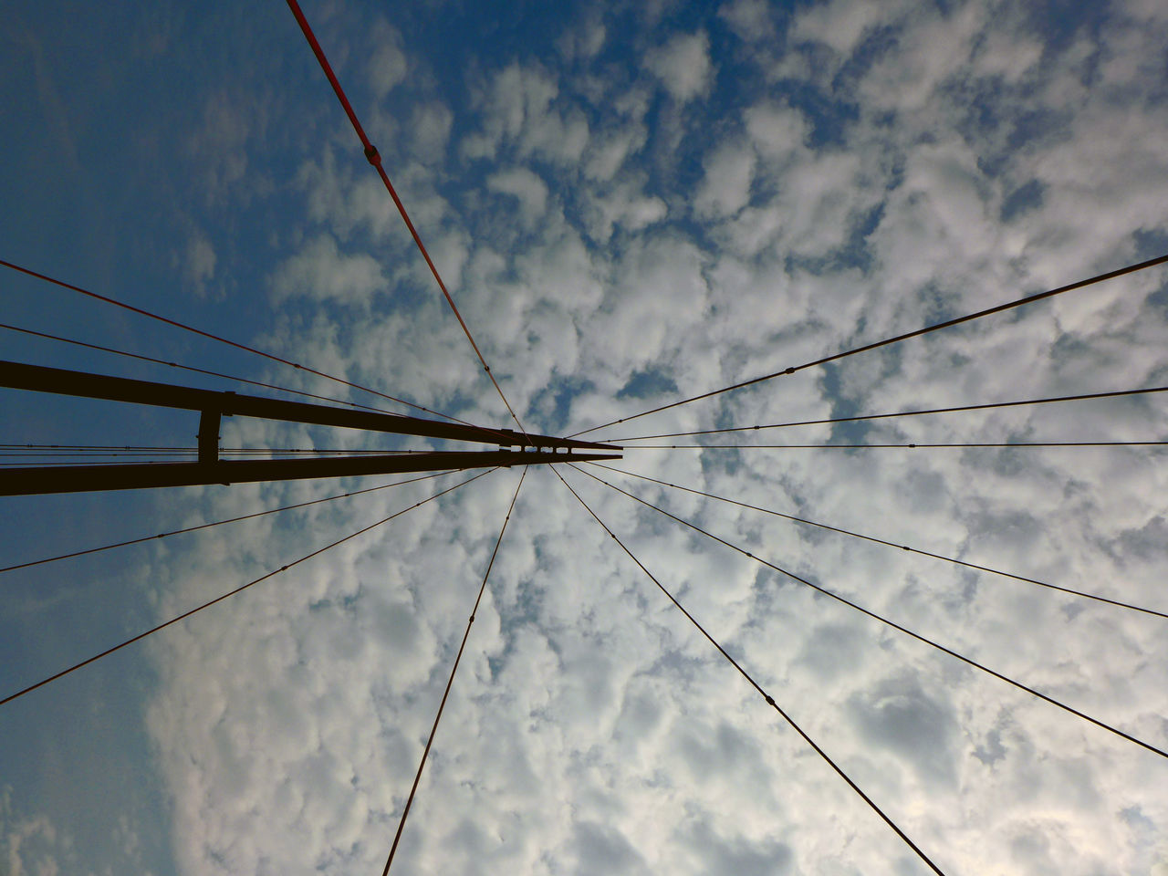 cable, sky, cloud - sky, low angle view, connection, no people, outdoors, day, nature