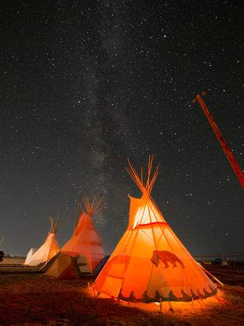 Teepees under the Milky Way Camping Wyoming Astronomy Beauty In Nature Camping Galaxy Illuminated Landscape Milky Way Nature Night No People Outdoors Shelter Sky Space Star - Space Teepee Tent Lost In The Landscape