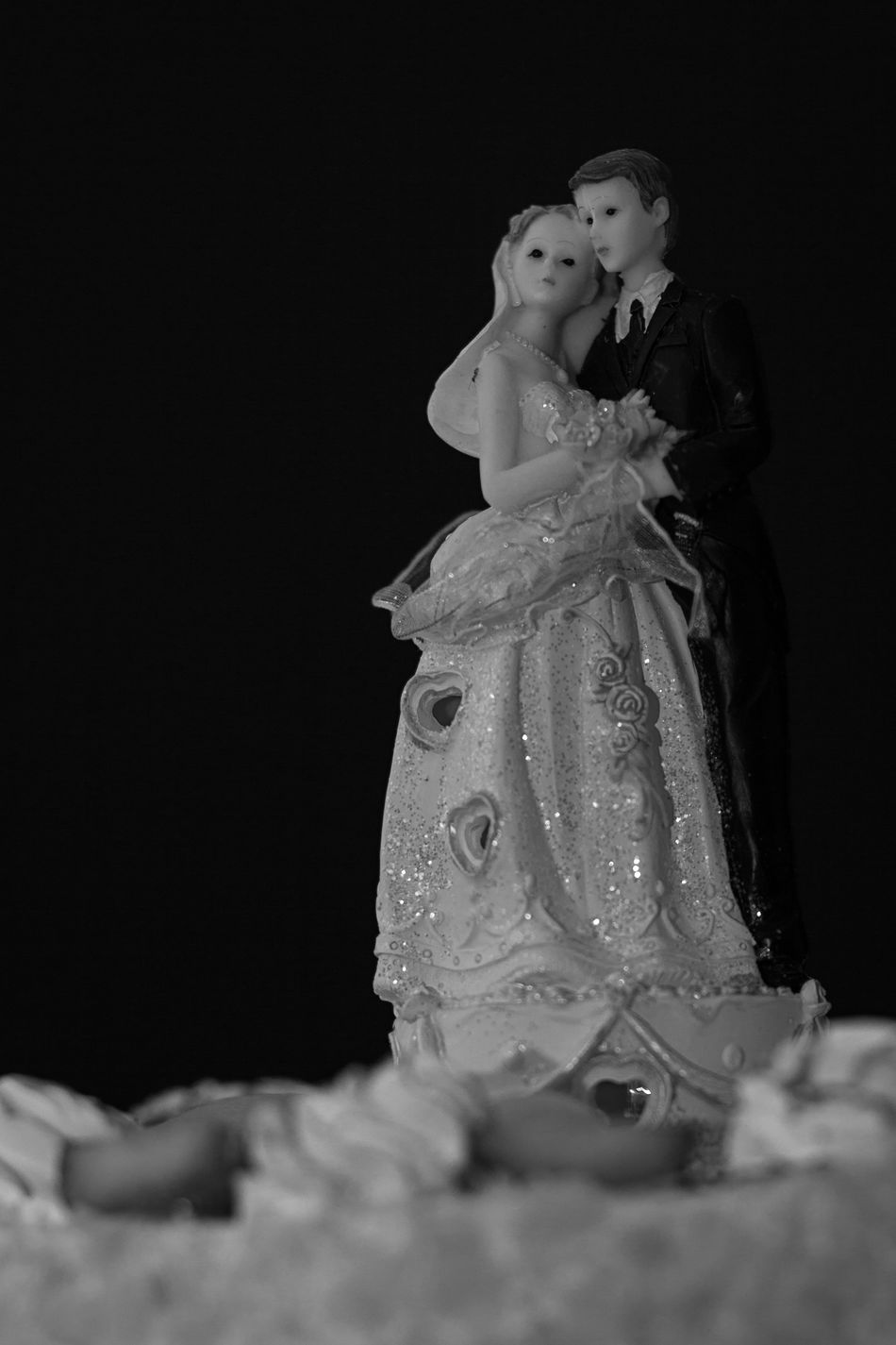 Black Background Bride Celebration Close-up Full Length Groom Indoors  Life Events Night People Studio Shot Togetherness Wedding Wedding Dress