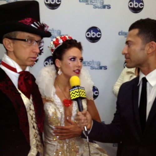 Andy Dick & Sharna Burgess Talk about their Alice in Wonderland meets Gaga performance. Up next .. ChaCha for Prom Week! DWTS Dance @dancingabc @afterbuzztv @markealan @jackiemiranne nofilter fashion lol like cool teamdick
