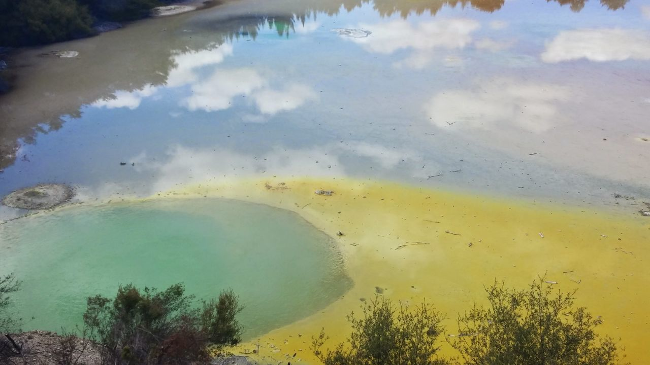 Water Reflection Nature Outdoors No People Beauty In Nature Day Sky Rainbow Colors Thermal Pool Geothermal Activity Waiotapu Thermal Wonderland Waiotapu Waiotaputhermalwonderland Rotorua New Zealand Rotorua  New Zealand New Zealand Scenery Artistspalette