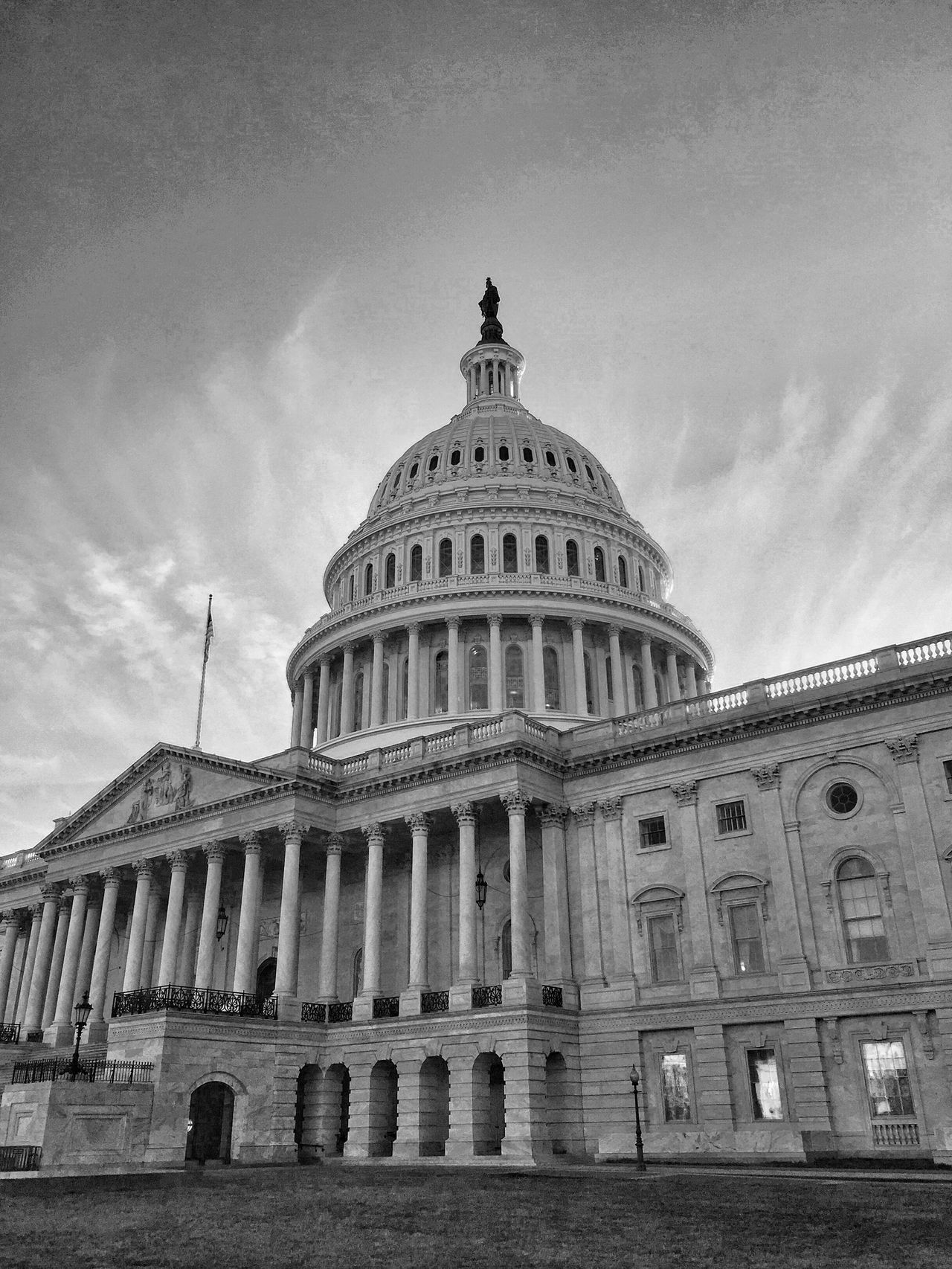 Government Dome City Architecture Building Exterior Low Angle View Sky No People History Cultures Outdoors Travel Destinations Built Structure Politics Day Black And White Blackandwhite Monochrome Washington, D. C. JoMo Photo IPhoneography Street Photography Streetphotography