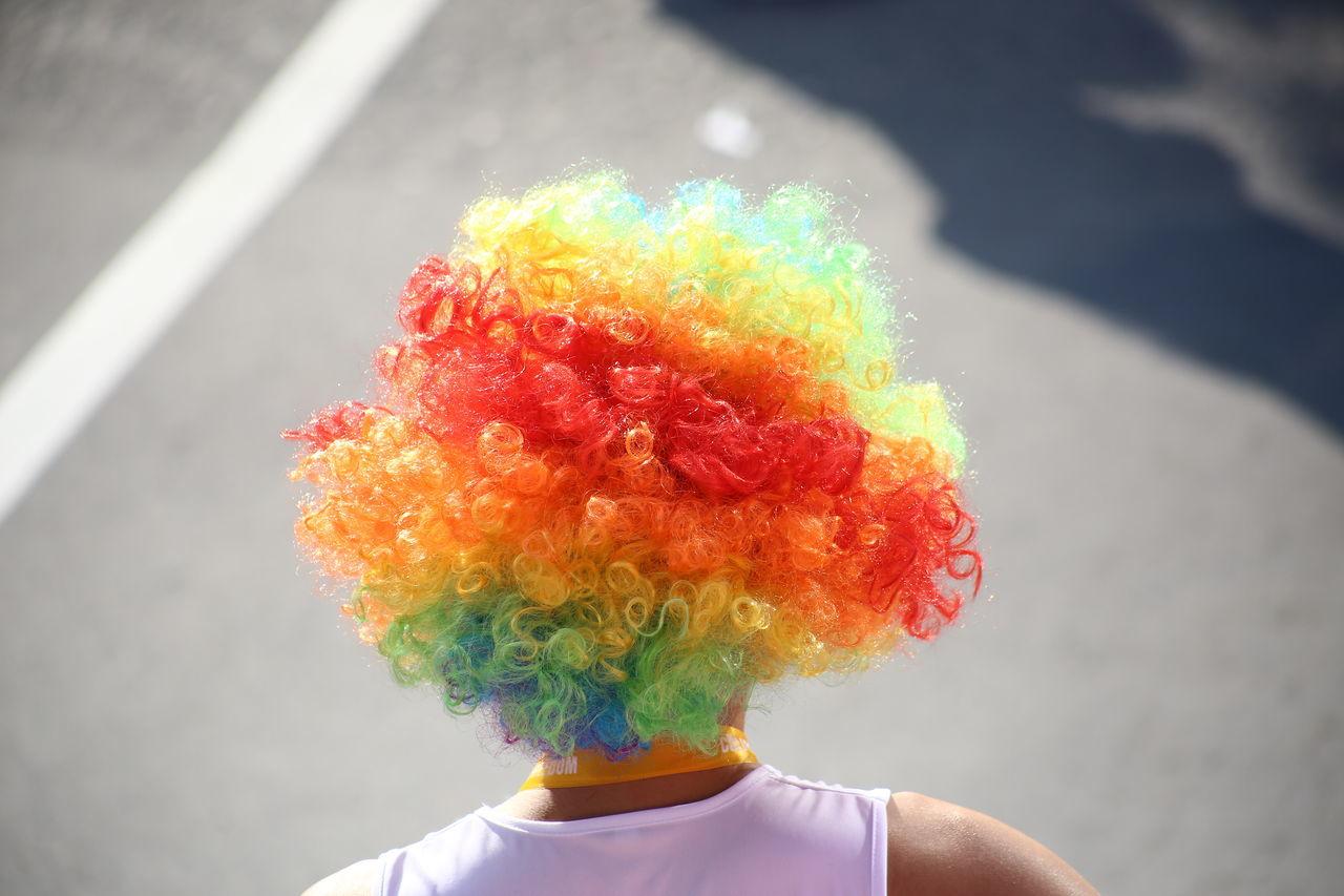 Man wearing a rainbow afro during an organized run in BGC,Taguig. Color Rainbow Afro Afrohair Rainbow Afro Fun Run Health