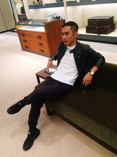Person Indoors  Sitting Young Men Confidence  Handsome Bottega Veneta Zara Nike