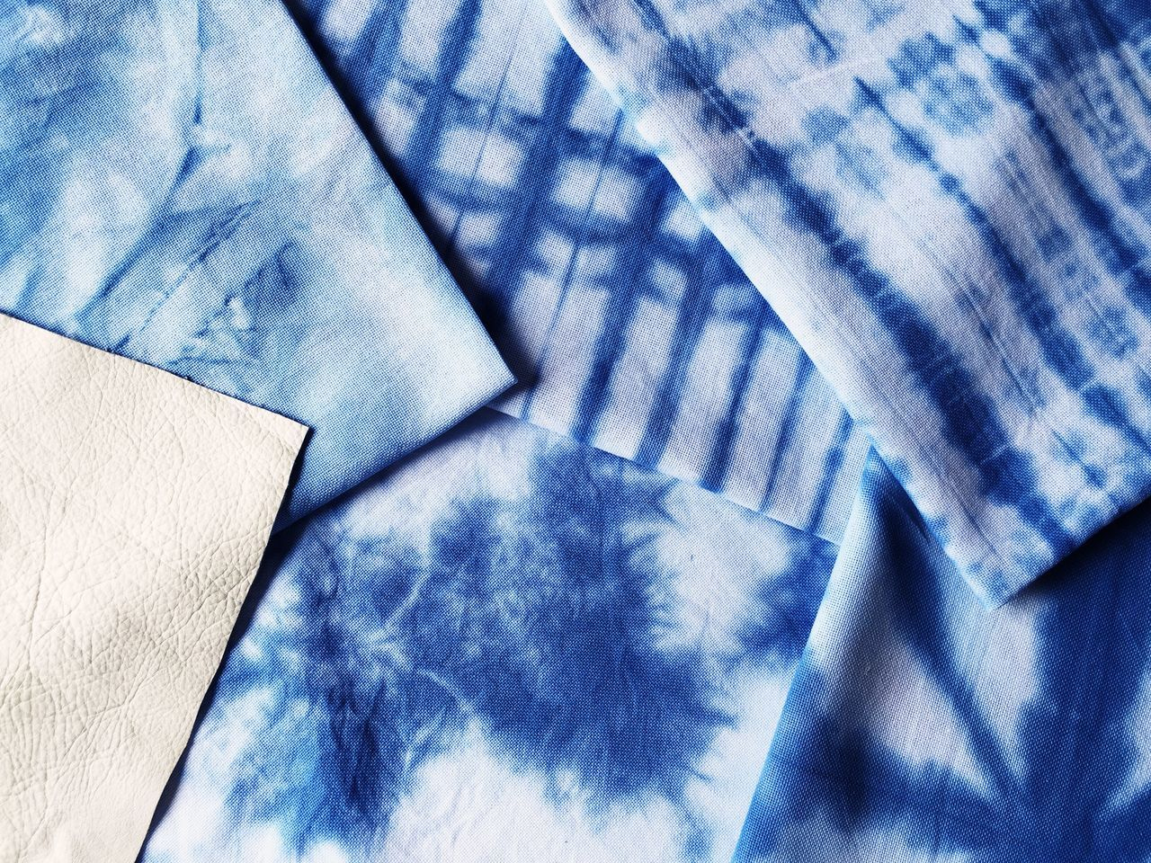 Blue Close-up Crafts Design Fabric Hand Dyed Minimalism Pattern Shibori Textile