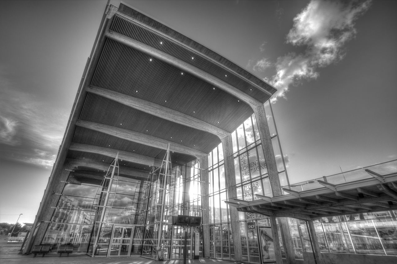Architecture Bretagne Building Exterior Built Structure City Cloud - Sky Day Lorient Low Angle View Modern No People Outdoors Sky Train Station