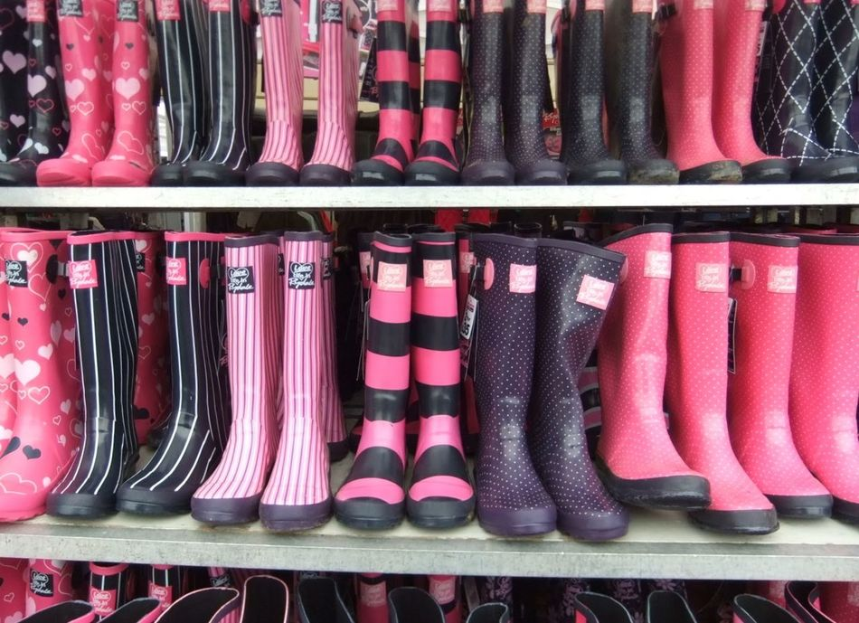 Wellingtons Retail  Large Group Of Objects Close-up No People Wellington Boots Pink Color Pink