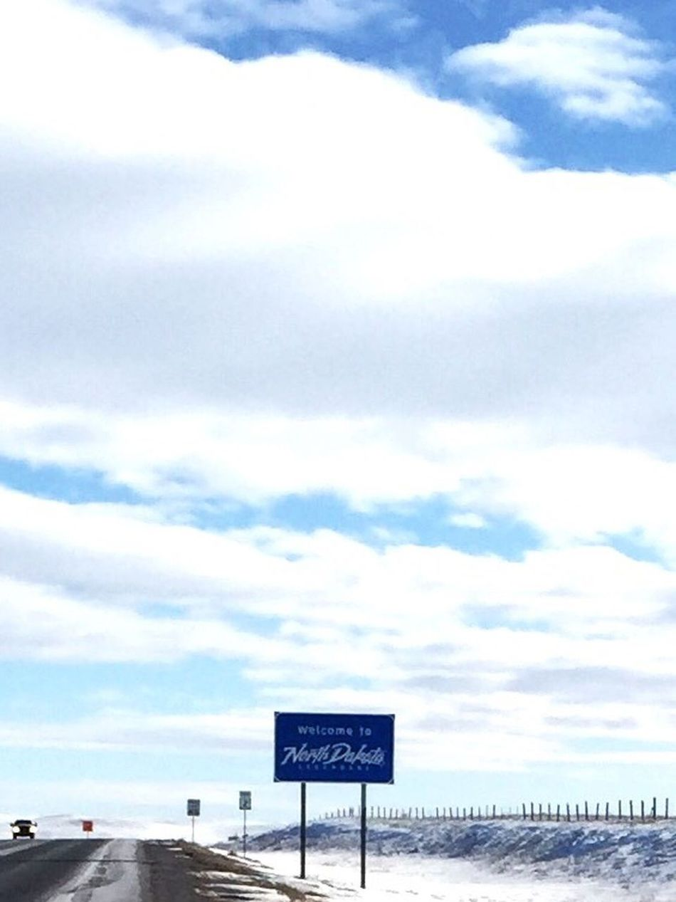 Sky Cloud - Sky Text Communication Day No People Road Sign Outdoors Nature North Dakota
