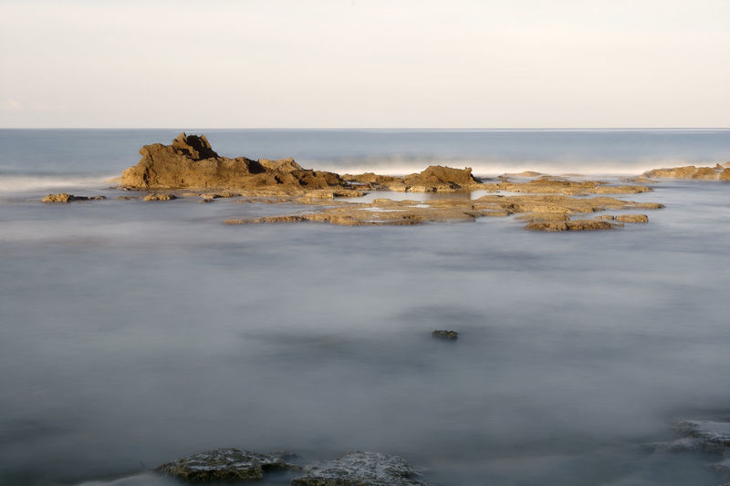 cliff of the salt marshes in the locality of Palinuro in the Cilento National Park Beauty In Nature Day Horizon Over Water Nature No People Outdoors Rock - Object Rock Formation Scenics Sea Sky Tranquil Scene Tranquility Water