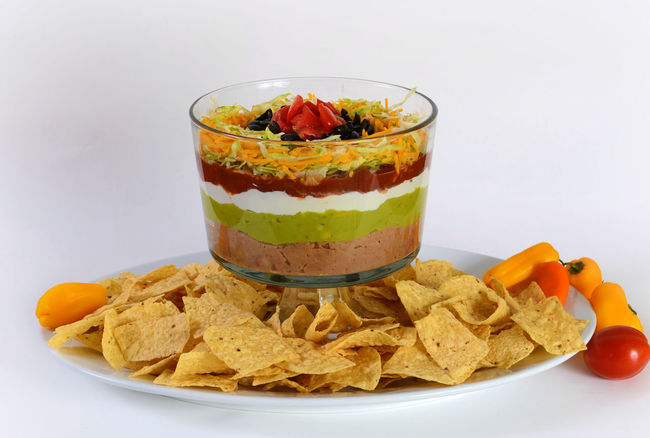 Bowl Cheese Chips Chips And Dip Food Freshness Guacamole Horizontal Layering Layers Layers And Textures Mexican Food No People Party Food Ready-to-eat Salsa ShareTheMeal Tortillachips Tortillas White Background