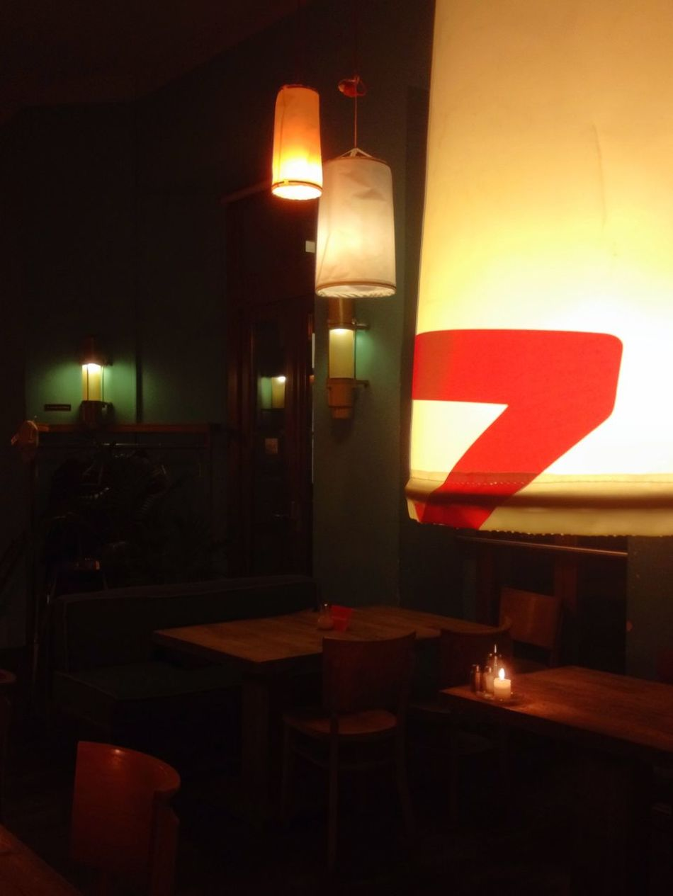 Warm lights. Been coming to this cafe for a dozen years now.