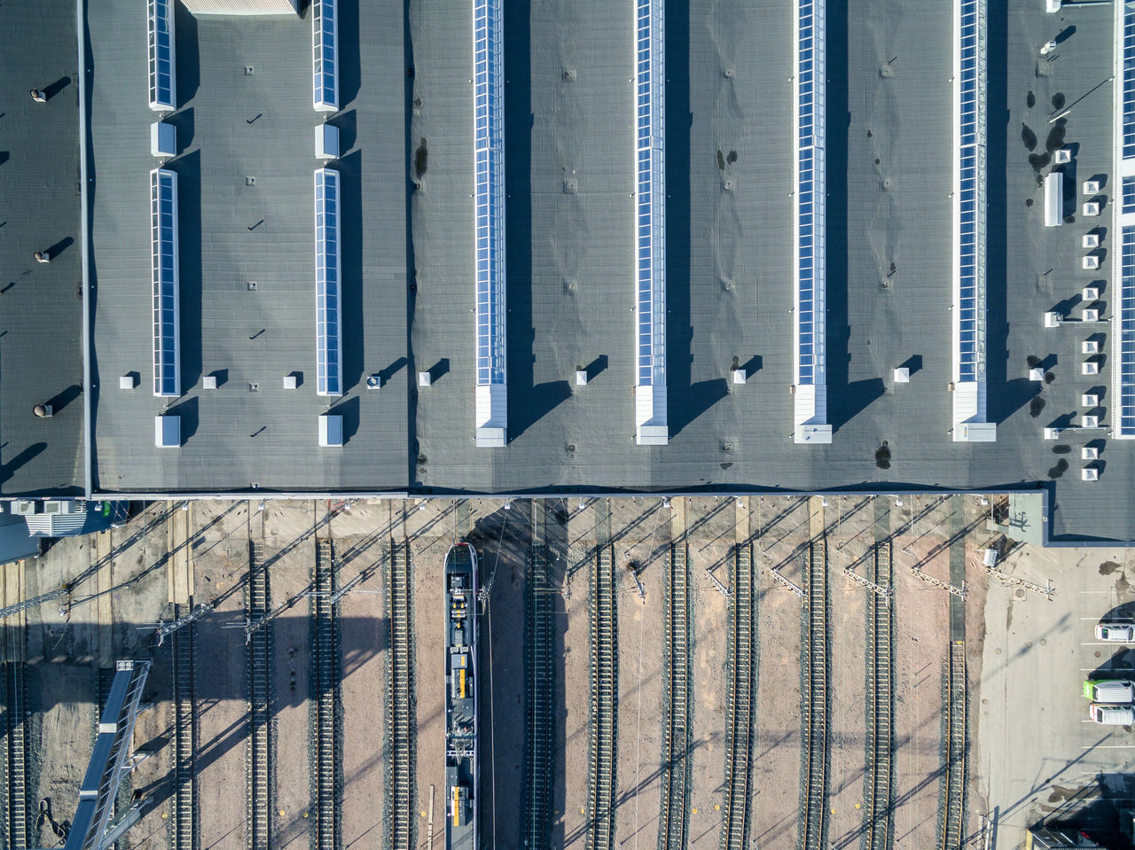 Architecture Building Exterior Built Structure Close-up Corrugated Iron Day Drone  Finland From Above  Helsinki High Angle View No People Outdoors Top Perspective Tracks Train Transportation