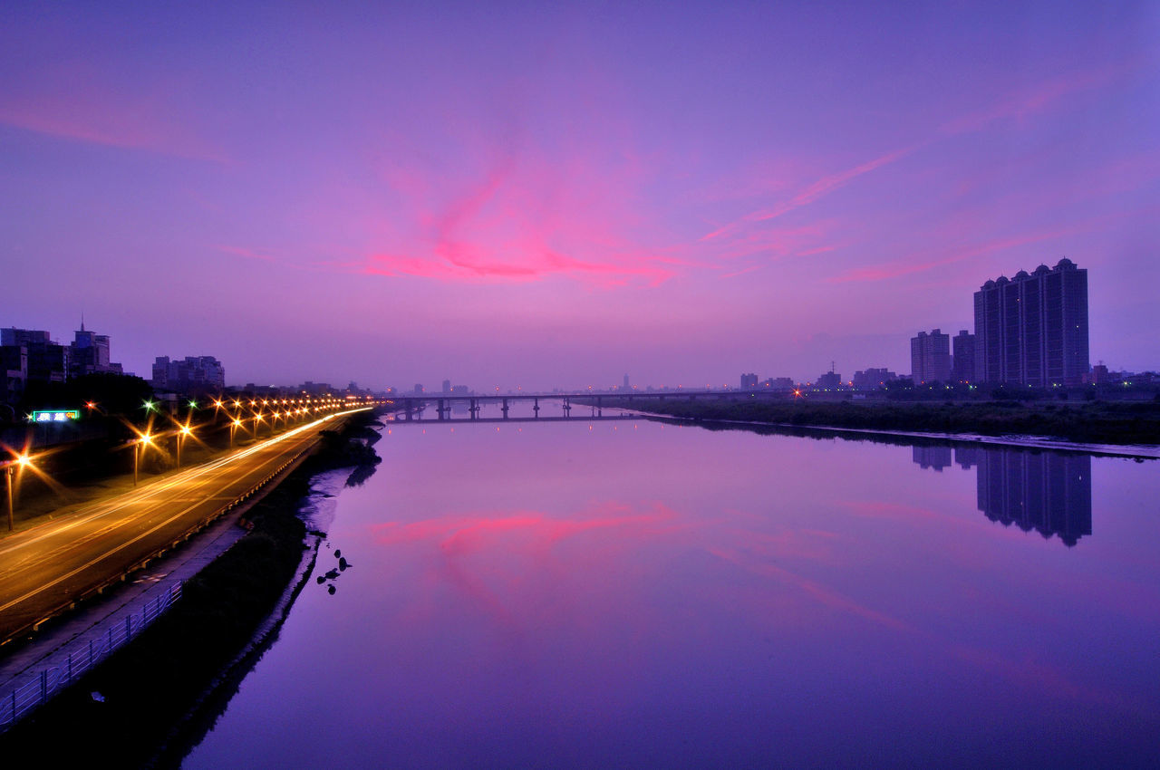 Architecture Blank Bridge Bridge - Man Made Structure Building Building Exterior Built Structure City Cityscape Cloud Connection Illuminated Lake Light Trail Morning Night No People Outdoors Reflection River Sky Sunset Taiwan Water Waterfront