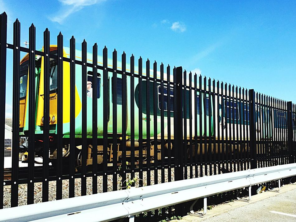 Sky Transportation Sunlight No People Outdoors Day Train Worthing Southern Fence