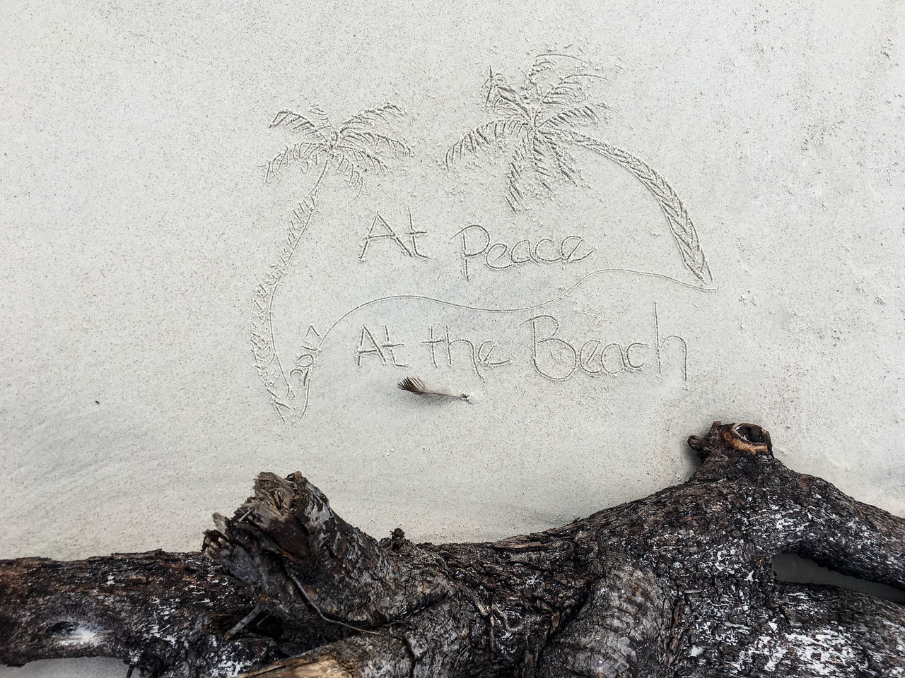 At Peace at the Beach Beach Day Handwriting  Love Nature No People Outdoors Phrases Sand Text Vacation