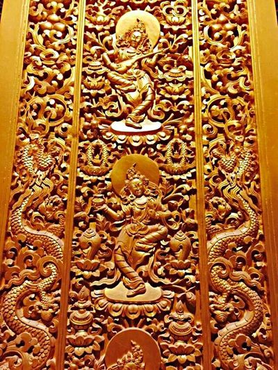 Art And Craft Design Close-up Pattern Creativity Golden Carved Indoors  Bhutanese Architecture