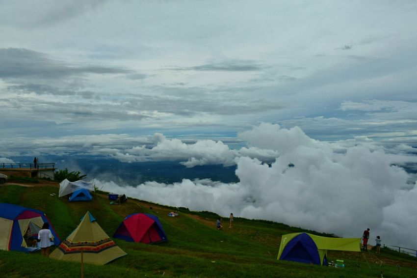 Landscape Tents Camping Vacations Fog Beauty In Nature Arts Culture And Entertainment Tourism Architecture Agriculture Cloud - Sky Travel Destinations Multi Colored Travel Social Issues Outdoors Vacations Nature Day Scenics Rural Scene Sky Beauty