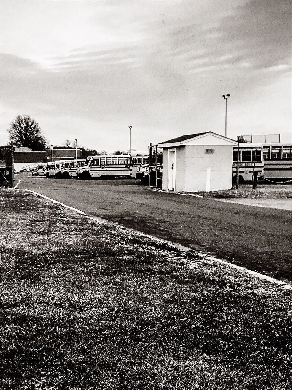 School busses waiting for kids dismissal Parking Area IPhone7Plus Camerafilters Blackandwhite Photography Sky Day Land Vehicle Outdoors