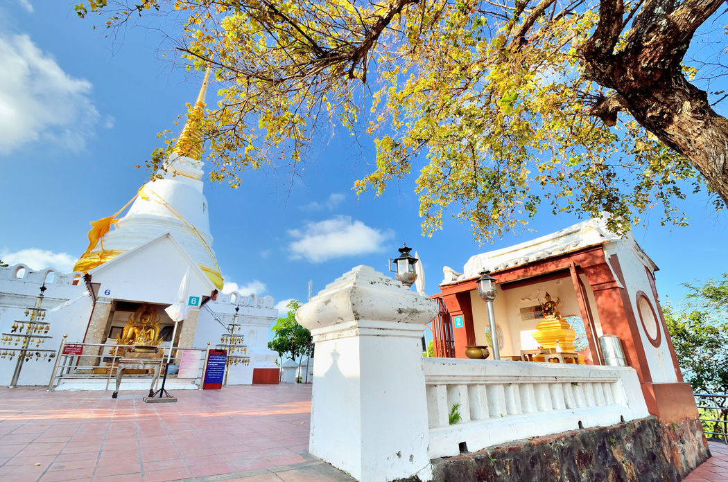 Khao Tang Kuan Mountains Sky Songkhla Summer Sunny Day Temple Thailand Viewpoint