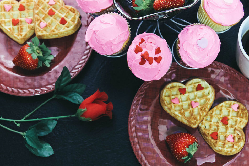Day Food Food And Drink Freshness Hearts Indoors  Love No People Overhead Valentine Valentine's Day  Waffles