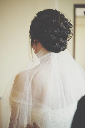 Hairstyle of the bride. Adult Adults Only Beautiful Woman Beauty Black Hair Bride Close-up Day Fashion Hair Hair Style Hairstyle Indoors  Love Model One Person Romantic Standing Studio Shot Wedding Wedding Day Wedding Dress White White Color Woman EyeEmNewHere