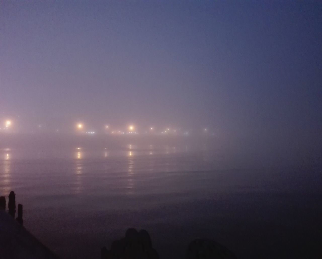 Sky Night No People Outdoors Water Beauty In Nature Foggy Hastings Foggy Landscape Beach