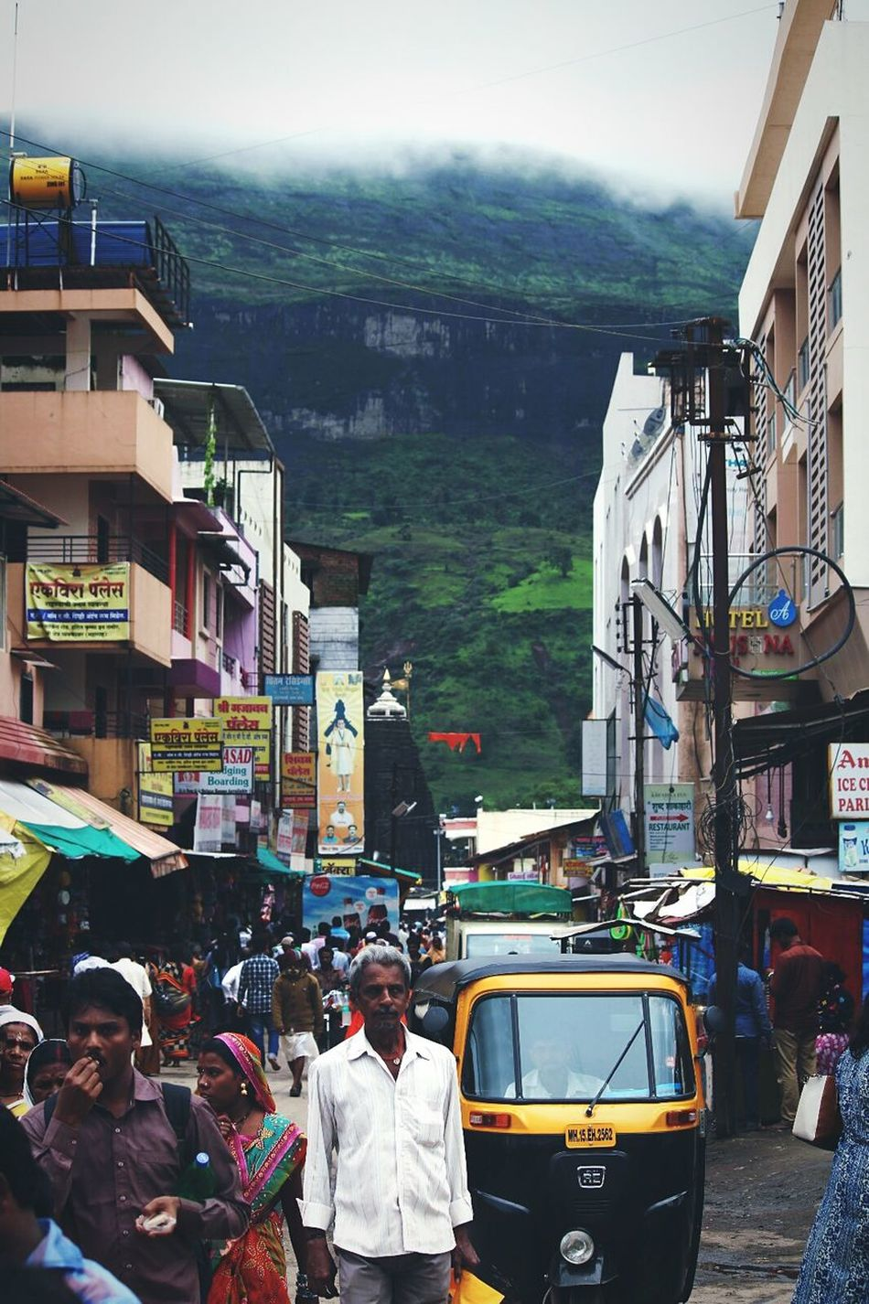 Trimbakeshwar Temple People Buildings Clouds Mountains Green Cool Climate