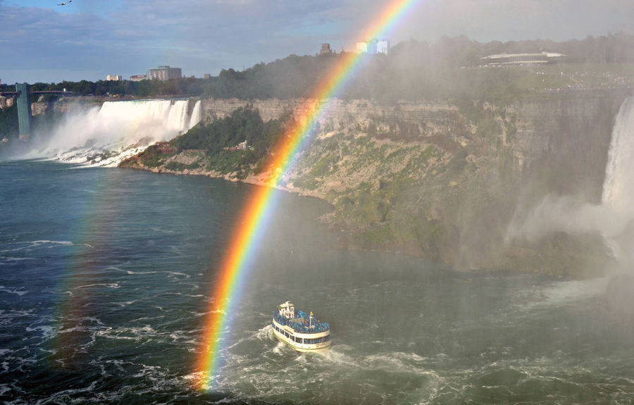 Separated by Rainbow Canada Fall Beauty Maid Of The Mist Niagara Falls Rainbow Site Seeing Water Flow Wonder Of The World