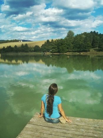 Lake View Landscape Water Reflections Girl Contemplative Countryside