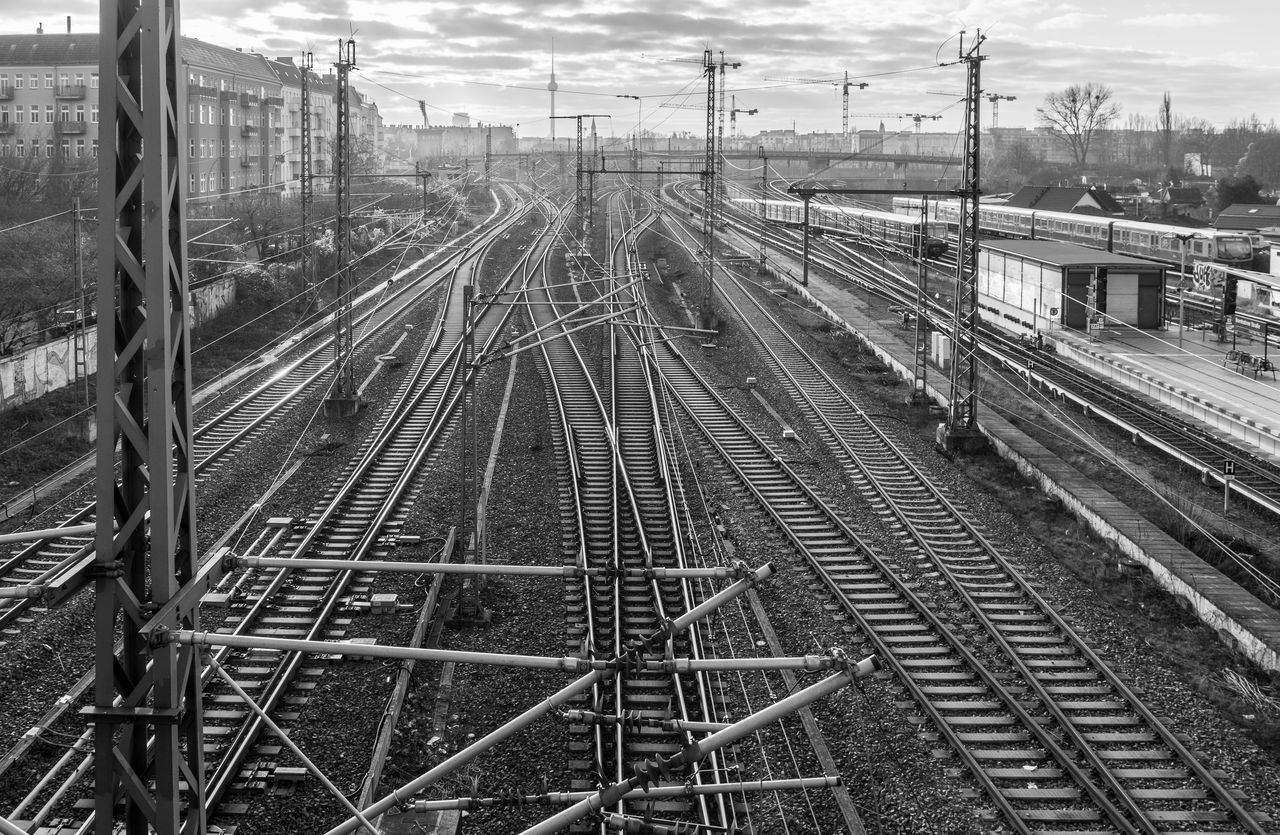 Black & White Black And White Complex Complexity Confusion Day High Angle View Intertwined Logistics Mode Of Transport No People Outdoors Prenzlauerberg Rail Transportation Railroad Station Railroad Track Schienen Sky Train - Vehicle Transportation Urban Urban Exploration