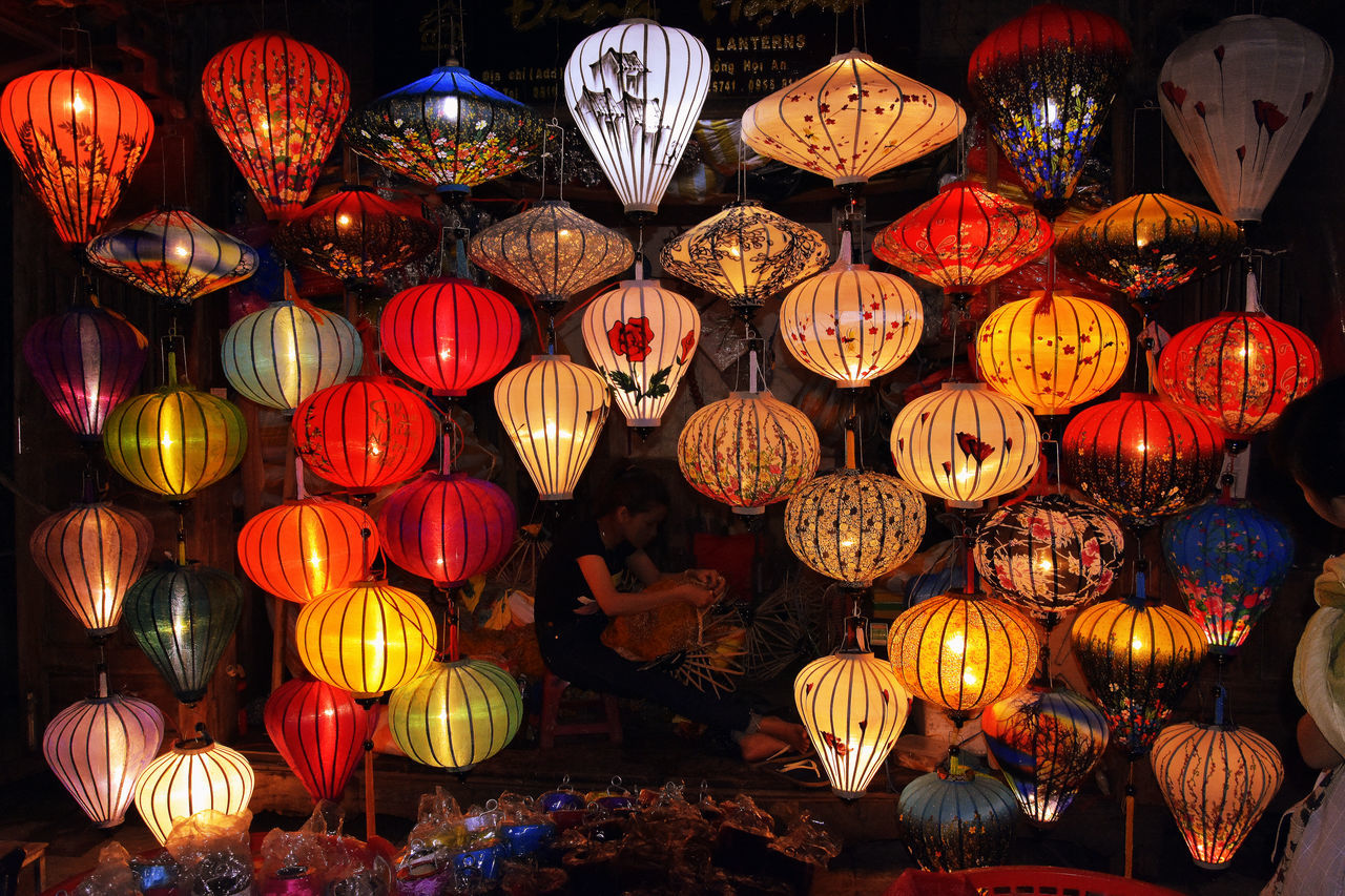 Vietnam Night Hoi An crafts Craftsman Artist Old Town Lanterns Crafts Art Ancient City Outdoors Illuminated Asian  Village Life Skilled Craftsmen Night Scape Lantern Maker Lantern Festival Vietnamese