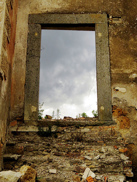 Cloud - Sky Cloudy Facades Magritteinspired No People Old House Open Window Run-down The Past Weathered Wall Window Frame Be. Ready.