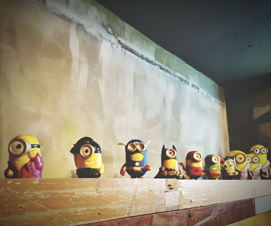 In A Row Indoors  Multi Colored Still Life Arrangement Variation Large Group Of Objects Wooden Shelf Man Made Object Collection Medium Group Of Objects No People Order Taking Photos Check This Out Minions 🍌🍌🍌🍌🍌 Minions🎂🎁🎉😊☺ Minions ♥♥ Minions Group Of Objects