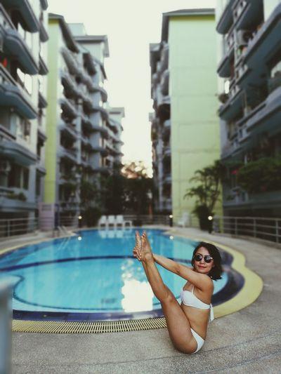 Yoga doesn't take time, it gives time ❤🙏. Yoga Yoga Pose Yogagirl Yogalove Yogapose Yogaeverydamnday Yogaeverywhere Swimming Pool Yogapractice Yogainspiration Yogatime
