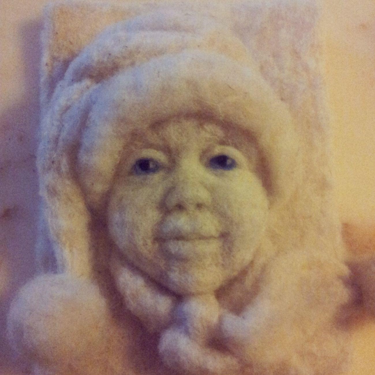 Wool picture Handmade By Me Artdolls Portrait Hello World