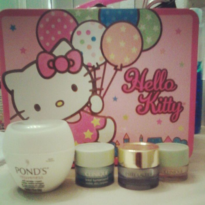 I have a #hellokitty lunchbox full of #antiaging products, but these 4 steal the show. #ponds #clinique #esteelauder #cosmetics #beauty Cosmetics Hellokitty Ponds Clinique Antiaging Esteelauder Betcheslovethis