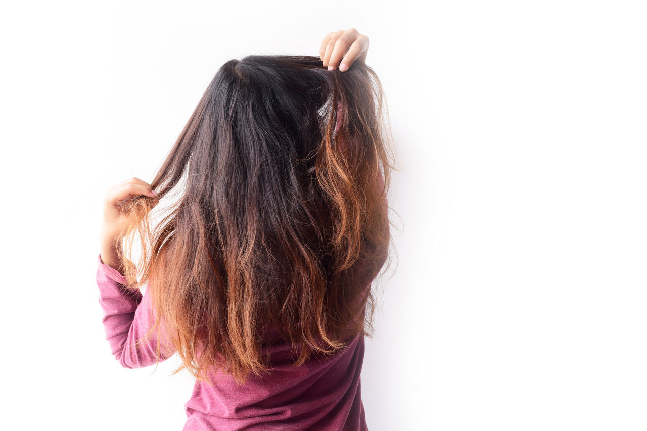 long hair, white background, human hair, rear view, one person, studio shot, women, girls, hair care, standing, human body part, one woman only, indoors, people, human hand, young adult, adult, day