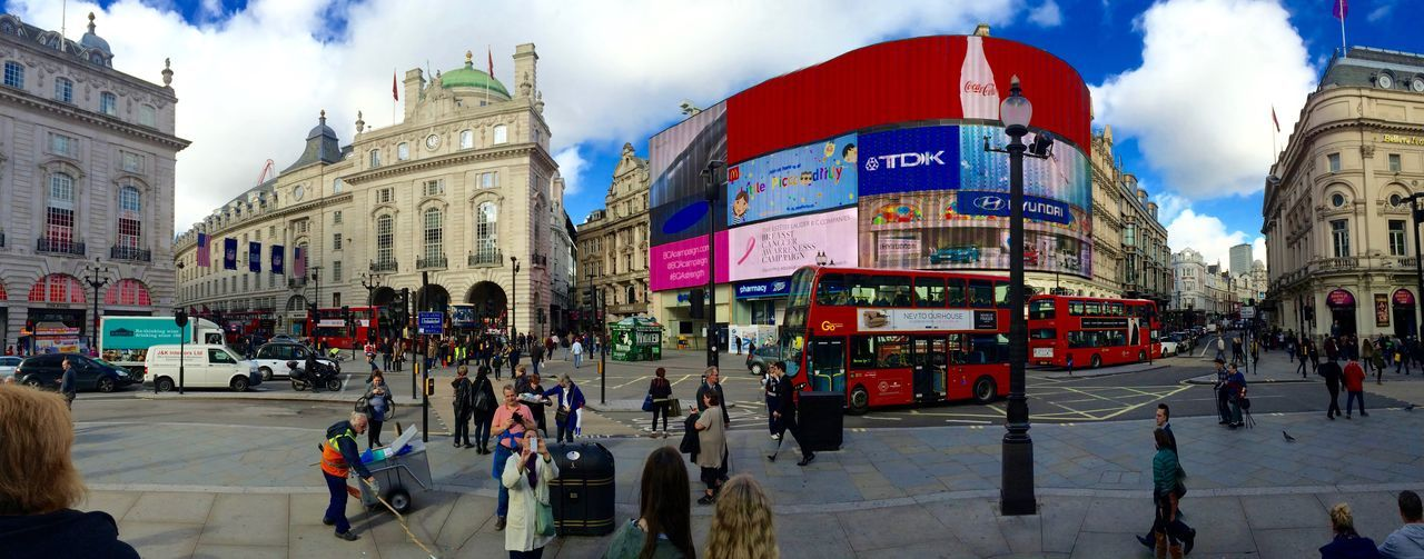 Picadilly Circus Ads Close-up Fisheye London Oxfordstreet Picadilly Regent Street  Sky Wide Angle