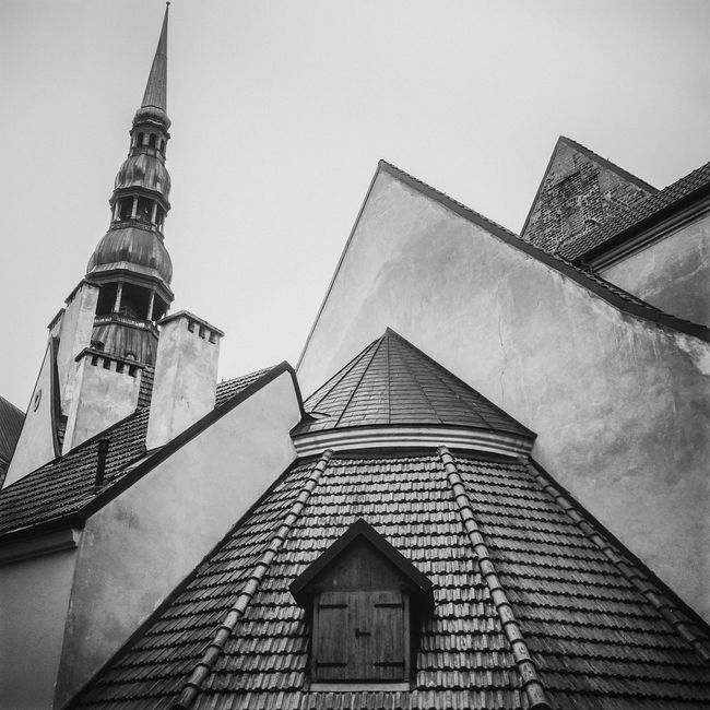 Old house roof of Vecriga district in Riga city Architectural Feature Architecture Black And White Building Building Exterior Built Structure Cathedral Church City City Life Old Old Buildings Old House Outdoors Roof Tall Tourism Tower Travel Destinations Traveling Vecriga Window