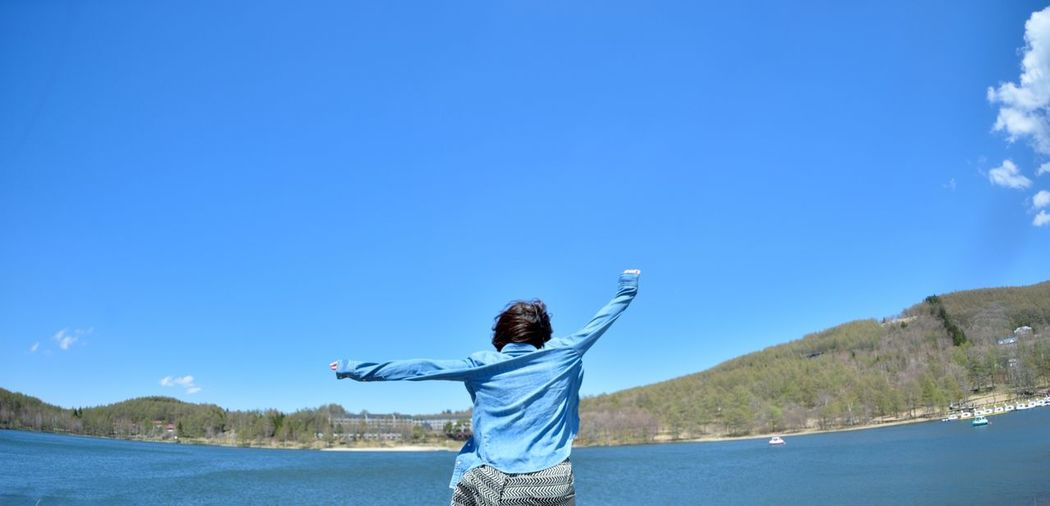 時をかける少女 時をかける少女 Girl Jump Jumpshot Fly Blue River Enjoying Life Portrait Nikon Df The Great Outdoors - 2016 EyeEm Awards Blue Sky