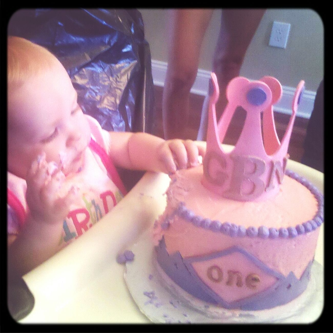 Grace enjoying her smash cake! Pink Smash Cake Cakes Love & Tiers