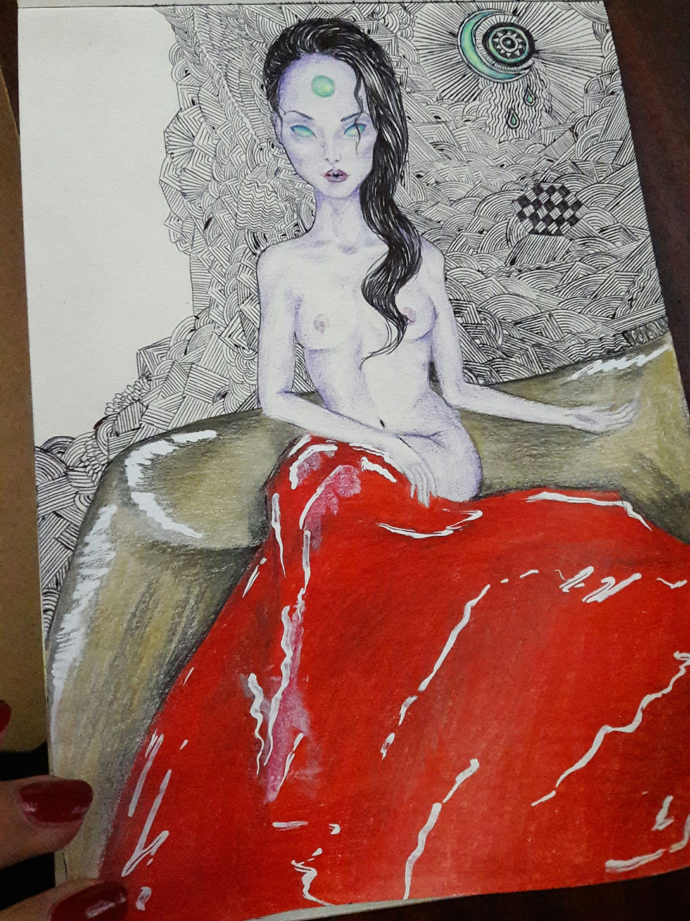 red, art, human representation, art and craft, creativity, indoors, painted image, beautiful woman, young adult, representation, beauty, sex symbol