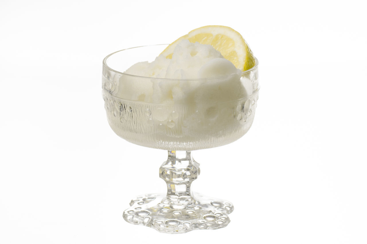 Drinking Glass Food Food And Drink Freshness Fruit Ice Cream Lemon Sorbet No People Ready-to-eat Refreshment SLICE Sorbet Studio Shot White Background