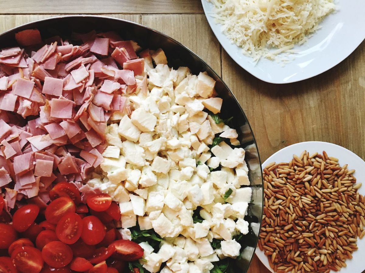 Salad Mozzarella Tomato Ham Cheese Pine Nuts Food Bowl Cooking