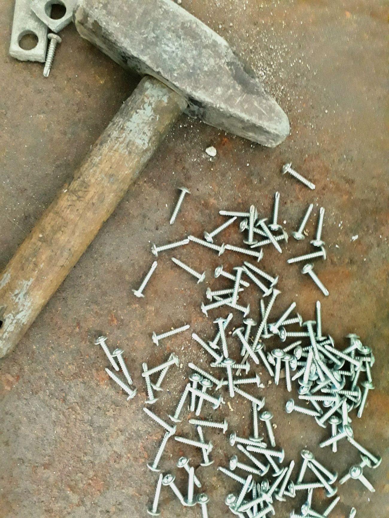 Nails Hammer Working Hard Working Hands Construction Worker And Tools Toolbox Rust Rusty Metal Manpower